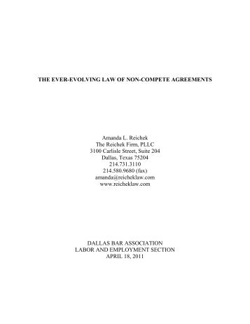 Ever-Evolving Law of Non-Compete Agreements - Dallas Bar ...