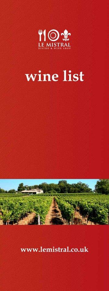 wine list - Ever So Sensible