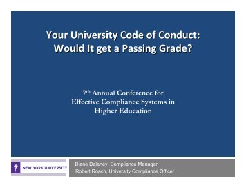 Your University Code of Conduct: Would It get a Passing Grade?
