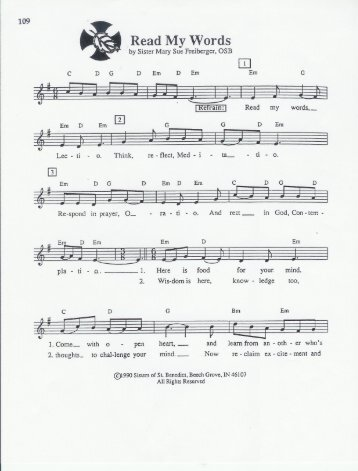 the sheet music of the Lectio Song