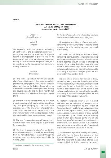 The Plant Variety Protection and Seed Act (Act No. 83 of May 29 ...
