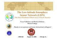 The Low-latitude Ionosphere Sensor Network (LISN) - URSI