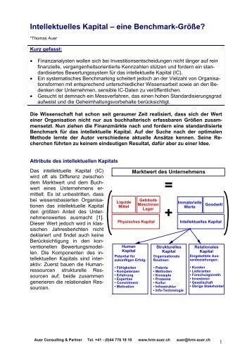 Eine Benchmarkgrösse? - Auer Consulting & Partner