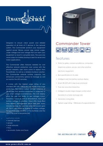 features Commander Tower - Power Shield