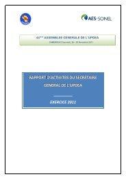 rapport d'activites du secretaire general de l'updea - association des ...