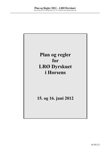 Plan & Regler 2012 Klik her - LRØ-Dyrskuet
