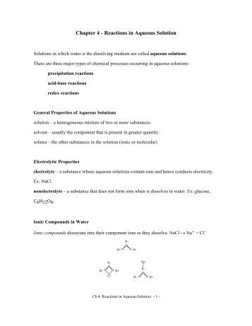 Worksheets Reactions In Aqueous Solutions Worksheet ch 4 aqueous reactions and solution stoichiometry a note on chapter in solution