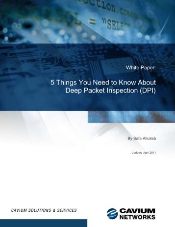 5 Things You Need to Know about Deep Packet Inspection ... - Cavium