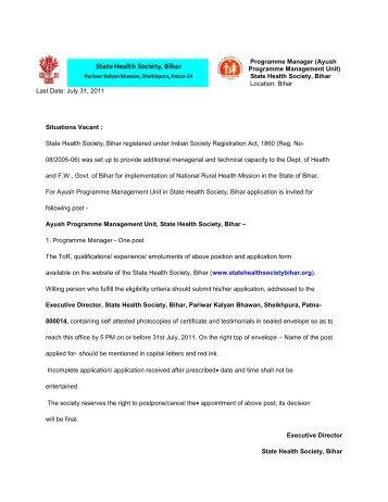 (Ayush Programme Management Unit) State Health Society, Bihar ...