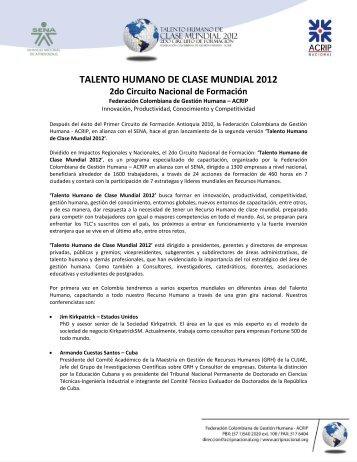 TALENTO HUMANO DE CLASE MUNDIAL 2012 - ACRIP Nacional