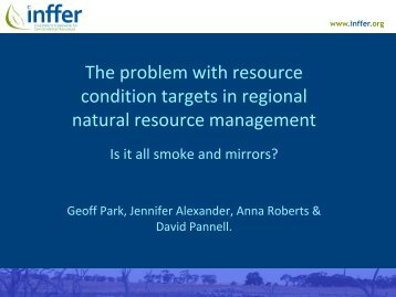 the problem with resource condition targets in regional natural ...