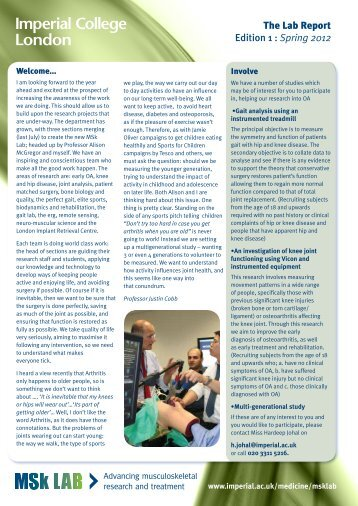 The Lab Report Edition 1 : Spring 2012 - Imperial College Faculty of ...