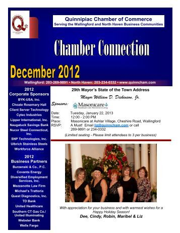 December 2012 Newsletter - The Quinnipiac Chamber of Commerce