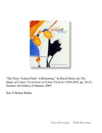 "The Term ""Colour Field:"" A Reframing - Robert Hobbs"