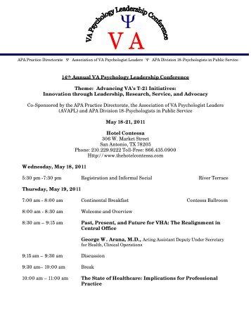 2011 VA Psychology Leadership Conference Agenda FINAL.pdf