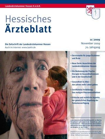 Hessisches Ärzteblatt November 2009 - Landesärztekammer Hessen