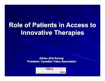 Role of Patients in Access to Role of Patients in Access to Innovative ...