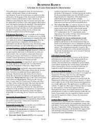 BUSINESS BASICS - Arizona Department of Revenue
