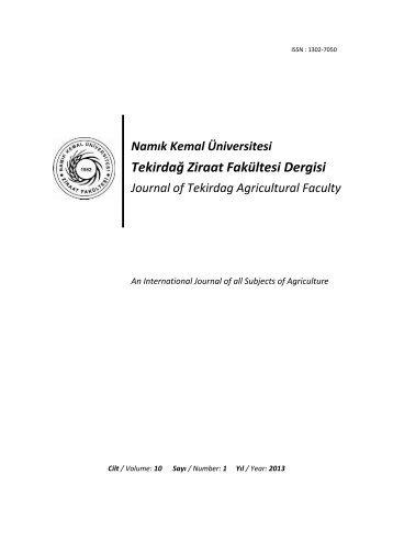 Namık Kemal Üniversitesi Tekirdağ Ziraat Fakültesi Dergisi Journal