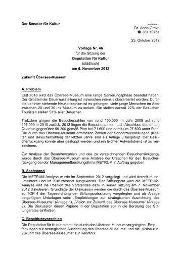 Vorlage 46 - Zukunft Übersee-Museum - Senator für Kultur - Bremen