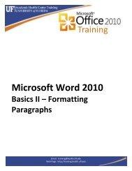 Microsoft Word 2010: Basics II – Formatting Paragraphs - Academic ...