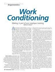 Ergonomics Ergonomics Work Conditioning Making it part of new ...