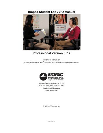 BSL PRO Software Guide - Biopac