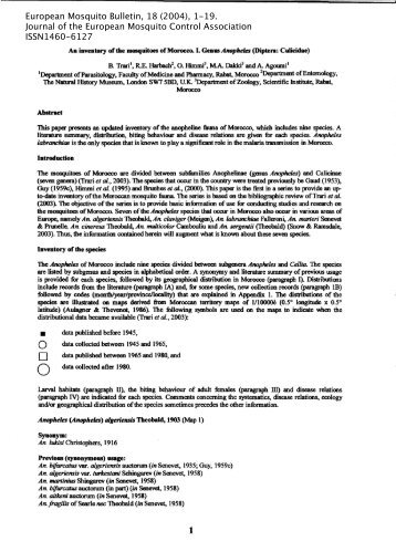 European Mosquito Bulletin, 18 (2004), 1-19. Journal of the ...