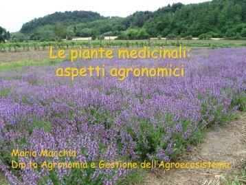 Le piante medicinali: aspetti agronomici