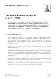 The New Apostolic Christian in society – Part I