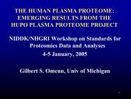 THE HUMAN PLASMA PROTEOME: EMERGING RESULTS FROM ...