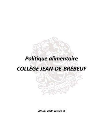 Politique alimentaire COLLÈGE JEAN-DE-BRÉBEUF