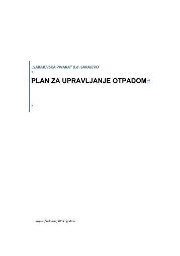 """Plan upravljanja otpadom - """"Sarajevska pivara"""""""