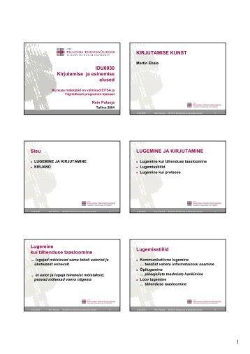 IDU0030 Kirjutamise ja esinemise alused KIRJUTAMISE KUNST ...