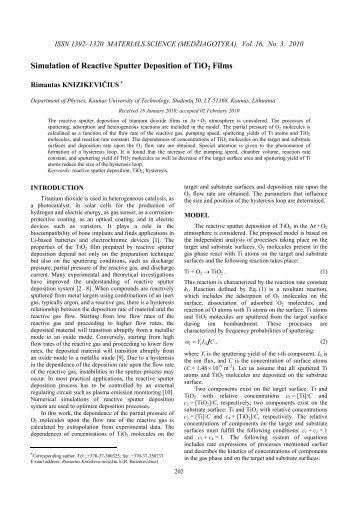 Simulation of Reactive Sputter Deposition of TiO2 Films - Kaunas ...
