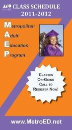 class schedule 2011-2012 - Metropolitan Education District