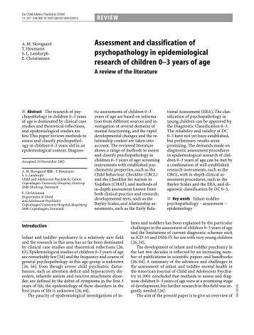 Assessment and classification of psychopathology in ...