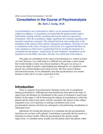 Consultation in the Course of Psychoanalysis Introduction