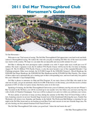 2011 Del Mar Thoroughbred Club Horsemen's Guide