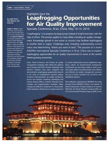 Leapfrogging Opportunities for Air Quality  Improvement