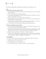 Six-Trait Writing Rubric, Student-Friendly Version (Grades 3–8)