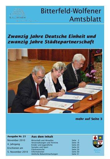 Amtsblatt 21-10 erschienen am 05.11.2010 - Stadt Bitterfeld-Wolfen