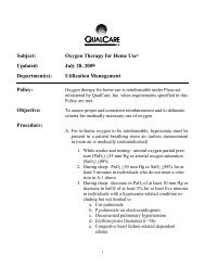 Subject: Oxygen Therapy for Home Use* Updated ... - QualCare Inc.