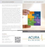 Patienteninformation - ACURA SIGEL Klinik - Acura Kliniken