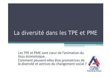 La diversité dans les TPE et PME - CGPME Paris Ile de France