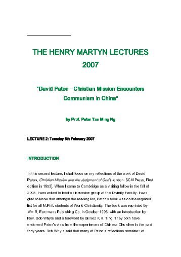 Lecture II: David Paton - Henry Martyn Centre