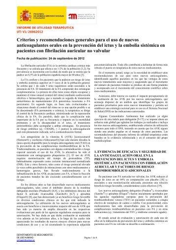 Criterio de Anticoagulación según el Mnisterio de Sanidad-2012