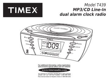 model t307 preset tuning clock radio with mp3 line timex audio rh yumpu com Timex Indiglo Radio Manual Timex Indiglo Instruction Manual