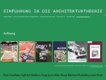 EINFÜHRUNG IN DIE ARCHITEKTURTHEORIE - architekturtheorie.eu