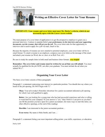 writing an effective cover letter for your resume - Writing A Strong Cover Letter
